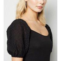 Black Broderie Puff Sleeve Top New Look