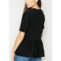 Black Woven Peplum T-Shirt New Look