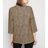 Brown Leopard Print Scuba Blazer New Look