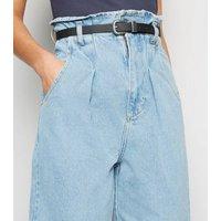 Blue High Belted Waist Balloon Leg Jeans New Look