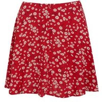 Petite Red Floral Button Front Flippy Skirt New Look