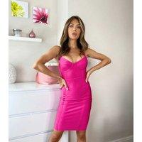 Urban Bliss Bright Pink Bandage Bodycon Midi Dress New Look