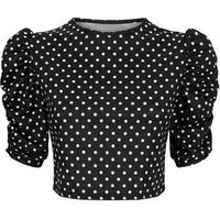 Urban Bliss Black Spot Puff Sleeve Crop Top New Look