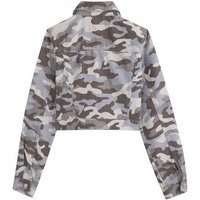 Girls Grey Camo Denim Jacket New Look