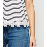 White Stripe Floral Crochet Trim T-Shirt New Look