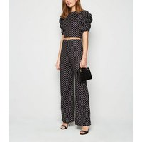 Urban Bliss Black Spot Wide Leg Trousers New Look