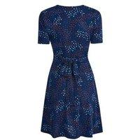 Blue Vanilla Navy Floral Twist Front Dress New Look