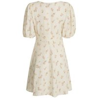 Petite Pink Floral Linen Blend Puff Sleeve Tea Dress New Look