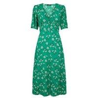 Green Floral Empire Waist Midi Dress New Look