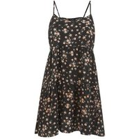 Petite Black Floral Strappy Dress New Look