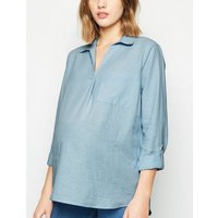 Maternity Pale Blue Overhead Shirt New Look