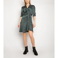 Gini London Green Animal Print Button Dress New Look