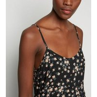 Tall Black Floral Strappy Mini Sundress New Look