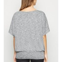 Pale Grey Fine Knit Batwing Top New Look