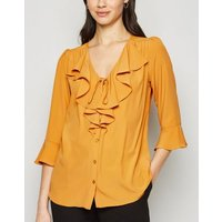 Mustard Tie Front Frill Blouse New Look