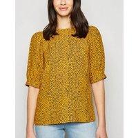 Mustard Spot Puff Sleeve Blouse New Look
