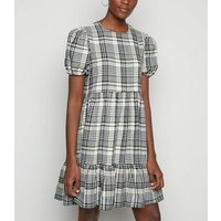 Tall White Check Puff Sleeve Mini Smock Dress New Look