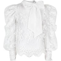 Cameo Rose White Lace Puff Sleeve Blouse New Look