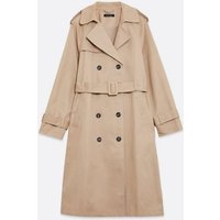 Camel Double Breasted Long Belted Mac New Look