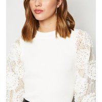 Cameo Rose White 3D Sequin Sleeve Jumper New Look