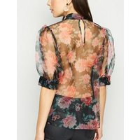 Black Floral High Neck Organza Blouse New Look