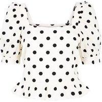 White Spot Poplin Puff Sleeve Peplum Top New Look