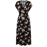 Black Floral Shirred Waist Midi Wrap Dress New Look