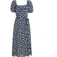 Blue Spot Square Neck Belted Midi Dress New Look