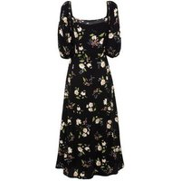 Black Floral Square Neck Midi Dress New Look