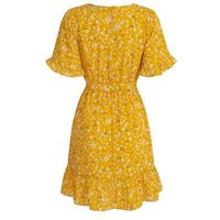 Yellow Floral Belted Mini Dress New Look