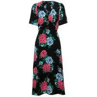 Black Floral Button Up Midi Tea Dress New Look