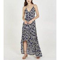 Blue Vanilla Navy Leaf Wrap Maxi Dress New Look