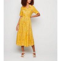 Blue Vanilla Yellow Spot Midi Shirt Dress New Look