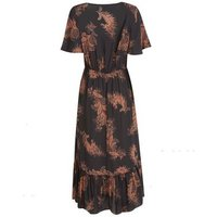 Black Paisley Button Front Tiered Midi Dress New Look