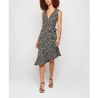 Blue Vanilla Navy Leopard Print Asymmetric Dress New Look