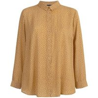 Curves Mustard Heart Print Long Sleeve Shirt New Look