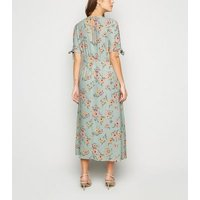 Green Floral Tie Sleeve Midi Dress New Look