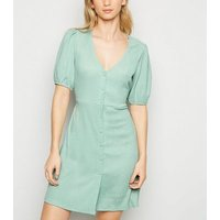Light Green Crinkle Button Front Mini Dress New Look