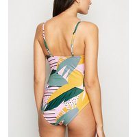 Vero Moda Pink Tropical Leaf Print Swimsuit New Look