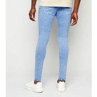 Men's Bright Blue Light Wash Super Skinny Stretch Jeans New Look