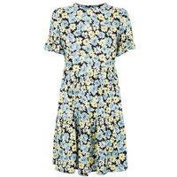 Black-Floral-Smock-Frill-Dress-New-Look