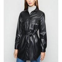 Black Leather-Look Belted Shirt New Look