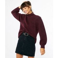 Burgundy Ribbed Knit High Neck Long Jumper New Look