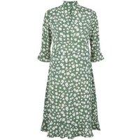 Blue Vanilla Green Floral Peplum Dress New Look
