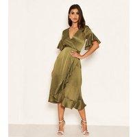 AX Paris Green Satin Spot Frill Midi Dress New Look
