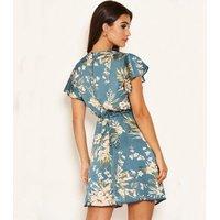 AX Paris Blue Satin Tropical Floral Mini Dress New Look
