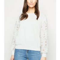 Cameo Rose Cream Broderie Sleeve Sweatshirt New Look