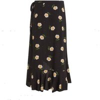 Petite Black Daisy Spot Wrap Midi Skirt New Look