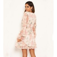 AX Paris Coral Floral Cut Out Chiffon Dress New Look