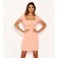 AX Paris Coral Puff Sleeve Mini Dress New Look